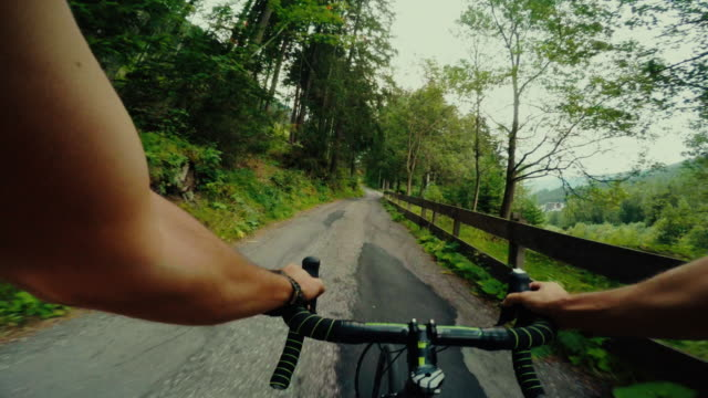POV riding a road racing bicycle video