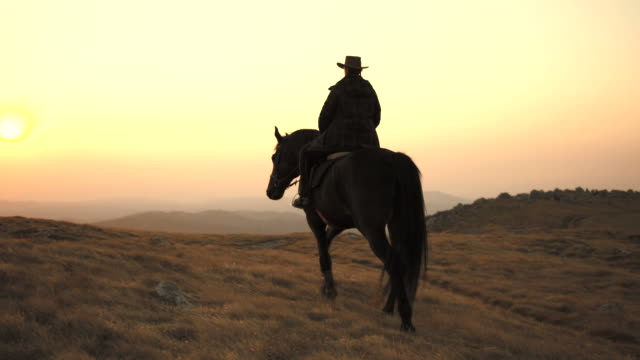 HD: Riding Across Prairie At Sunset video