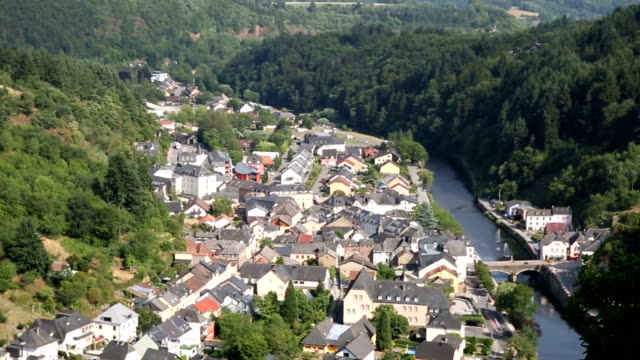 Riding Cable car Gondola lift with Vianden cityscape Luxembourg BeNeLux video