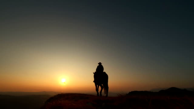 HD: Riding Horse On The Ridge At Sunset