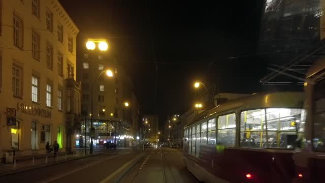 riding the tram in prague - tranvia video stock e b–roll