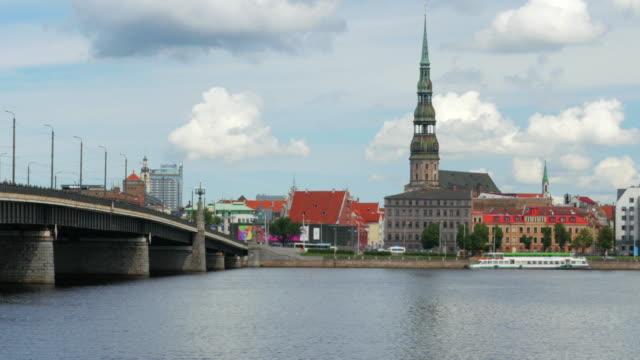 Riga view with bridge over river, Latvia