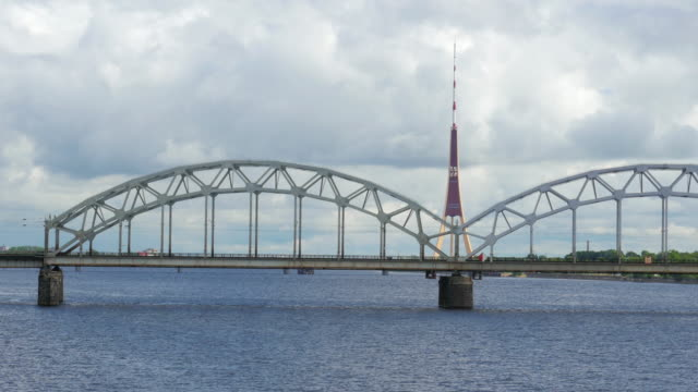 Riga view with bridge over river, Latvia