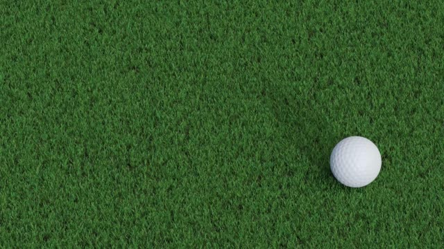 Right to left straight move of a golf ball on a green