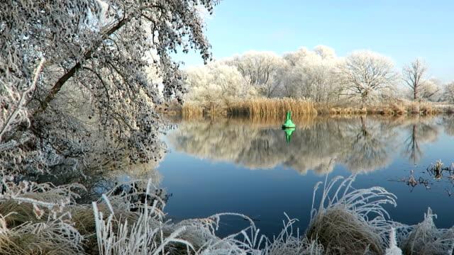 rime frost landscape at Havel river (Havelland, Brandenburg - Germany). Morning hours. video