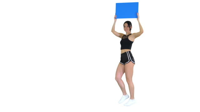 Ring girl walking holding empty board presenting new round on white background