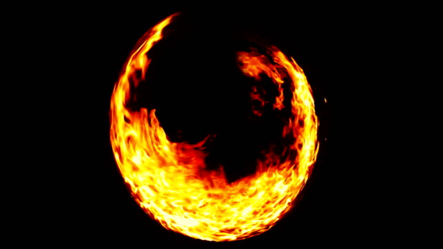 ring of flame fire in black background, dangerous flame video