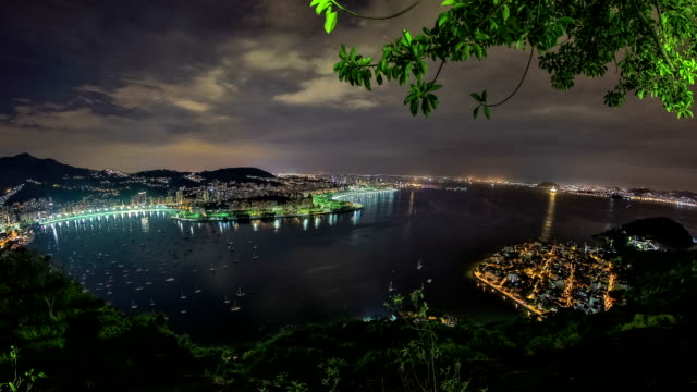 Rio Cityscape Time Lapse Night Panning HDR video