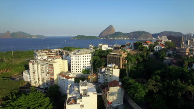 Rio de Janeiro Aerials: Slow move over Gloria towards the Sugarloaf Mountain video