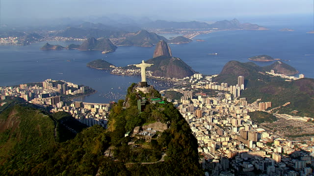 Rio de Janeiro, Brazil HD 1080P: Aerial view of Rio de Janeiro, Brazil.  Shot with a Cineflex gyro stabilized camera system. cristo redentor stock videos & royalty-free footage