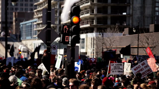Riot in the Montreal Streets to counter the Economic Austerity Measures. video