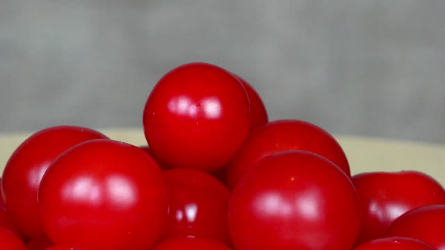 Ripe cherry tomatoes. Organic food. turntable anticlockwise video