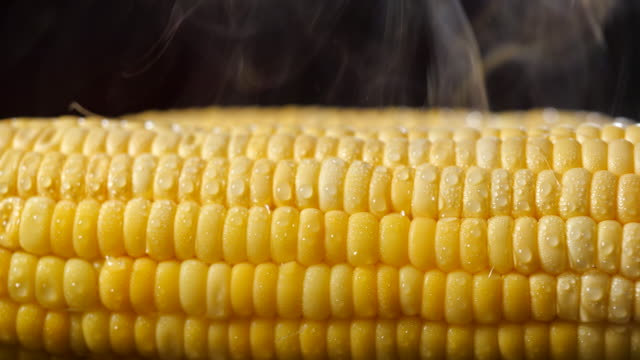 reife ähren aus mais in kochendem wasser mit vitaminen für eine gute gesundheit.  kochen gemüse in einem topf mit kochendem wasser. aufnahme mit folie oder bewegen kamera. 4k-auflösung - indochina stock-videos und b-roll-filmmaterial