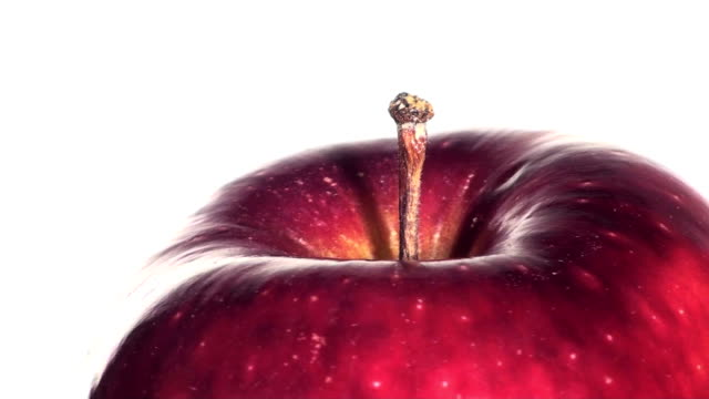 Ripe Red Apple Isolated On White Seamless Loop - HD video