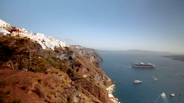 Rise on the elevator from the port of Santorini video