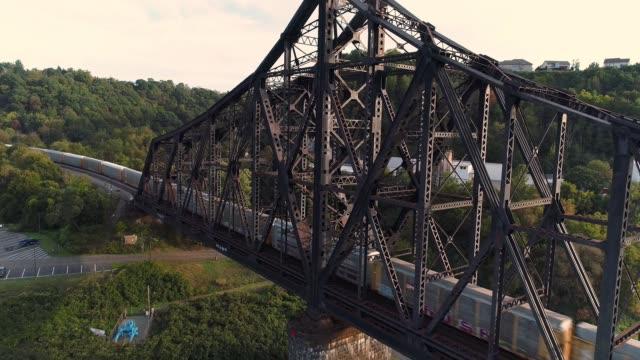 Rising Aerial Establishing Shot of Coal Train on Railroad Bridge video