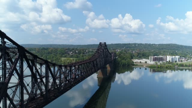 Rising Aerial View of Ohio River and Town of Beaver, Pennsylvania video