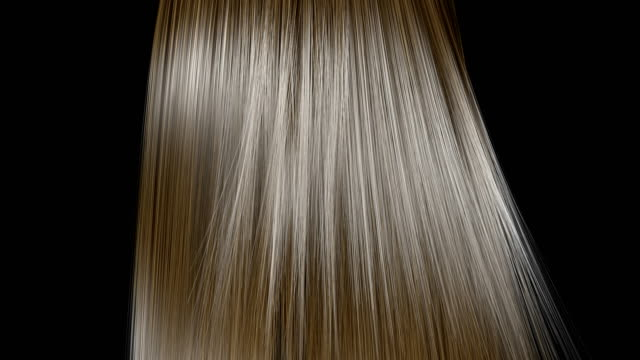 Rising and shaking of blond hair in slow motion. Blond hair fluttering in the wind, isolated on black background. Slow motion. Seamless looping. Three-dimensional render. hair stock videos & royalty-free footage