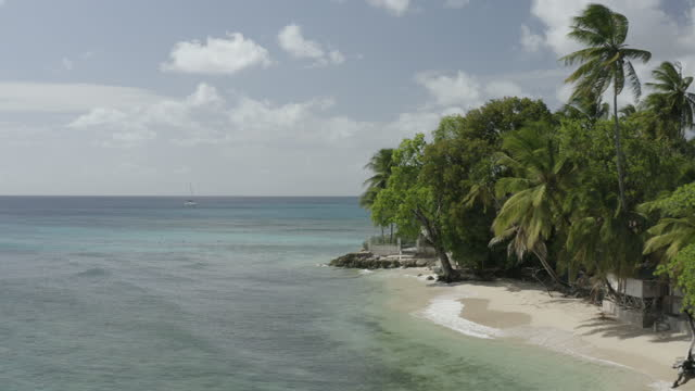 Rising drone shot of West Coast of Barbados video