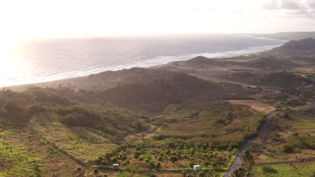 Rising drone shot over Cherry Tree Hill on East Coast of Barbados video