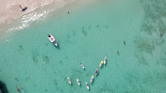 Rising drone shot over paddleboard yoga in the Caribbean video