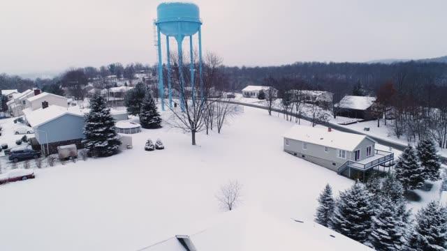 Rising Forward Establishing Shot of Winter Neighborhood video