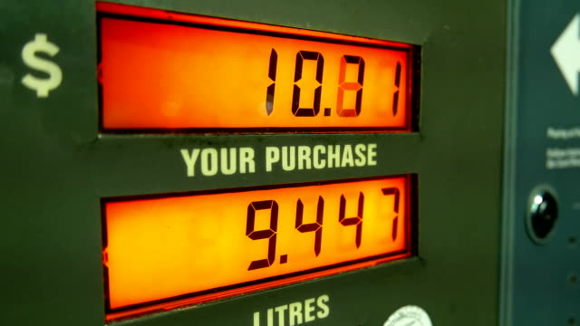 Rising gas prices on station pump screen video