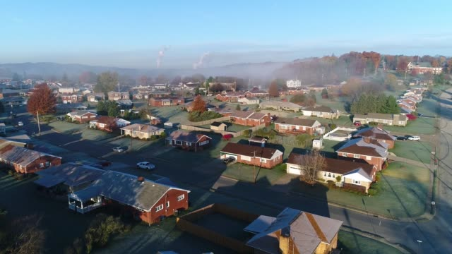Rising Morning Aerial Establishing Shot Typical Pennsylvania Neighborhood video