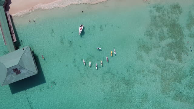 Rising rotating drone shot over paddleboard yoga in the Caribbean video