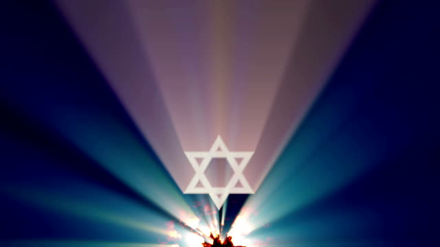 Rising Star of David Symbol of the Jewish Religion, a Star of David rises from the fire and brimstone of the world with light shafts animating. old testament stock videos & royalty-free footage