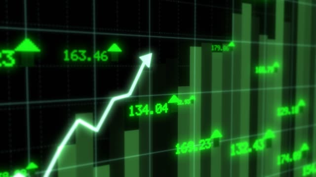 Rising Stock Market Chart Arrow Rallying Growth Recovery Concept - 4K Seamless Loop Motion Background Animation