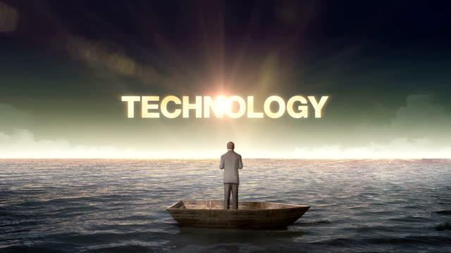 Rising typo TECHNOLOGY, front of Businessman on a ship video