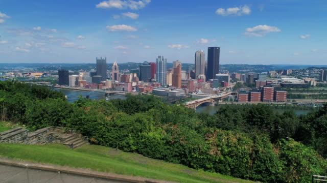 Rising Wide Aerial Establishing Shot Of Pittsburgh Skyline video