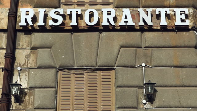 Ristorante sign on an building in Rome video