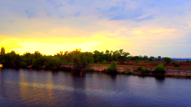 4K River Aerial and sunset, Drone video