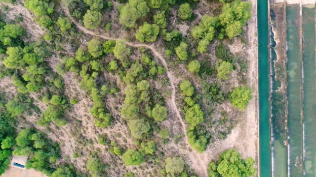River channel water ladder on the mountain view cenital drone