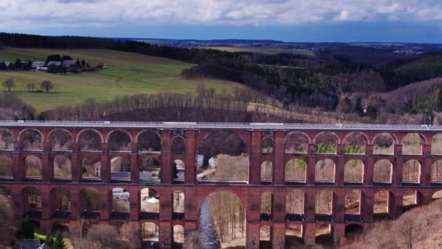 River Flowing Under Göltzsch Viaduct - Drone Shot