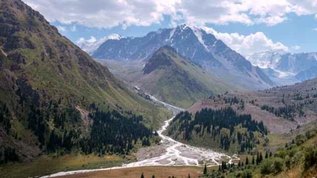 River Forest Tian Shan Mountains Time Lapse Zoom Out Time Lapse zoom out of beautiful Left Talgar mountain valley with river, rocks and forest in Tian Shan mountains near Almaty city; best place for active lifestyle, hiking and trekking in Kazakhstan kazakhstan stock videos & royalty-free footage