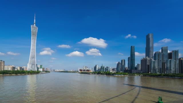 広州のダウンタウンの川 - 中国 広州市点の映像素材/bロール