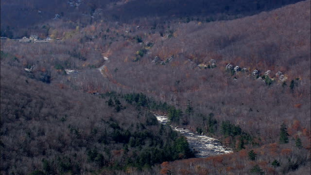 river in white mountain national forest - Aerial View - New Hampshire,  Grafton County,  United States video