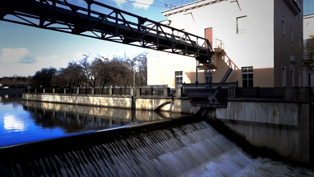 River locks on Yauza river in Moscow video