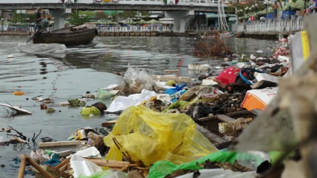 River polluted with garbage