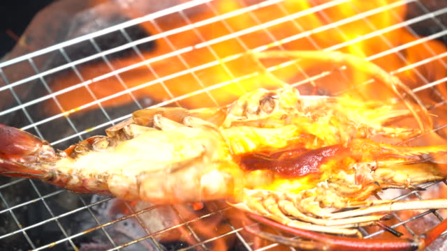 River Prawn grilled on fire