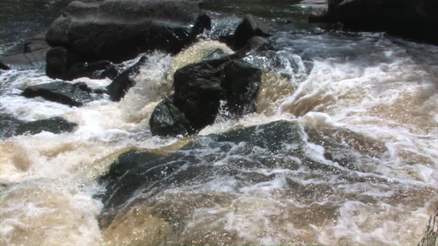 River Rapids 2 Water flows over rocks as a river picks up speed. boulder rock stock videos & royalty-free footage