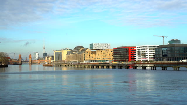 River Spree with Oberbaumbrücke in Berlin, time lapse video
