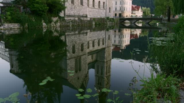 TU River surrounding the church in Kocevje