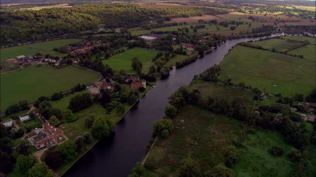 River Thames near Marlow - Aerial View - England, Windsor and Maidenhead, Bisham, United Kingdom video
