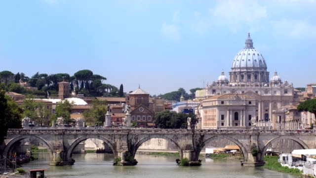 River Tiber with bridge in Vatican, Rome, Italy. video