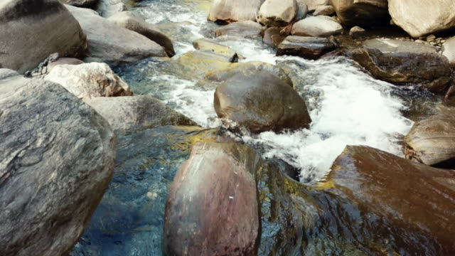 Riverbed with stones and water