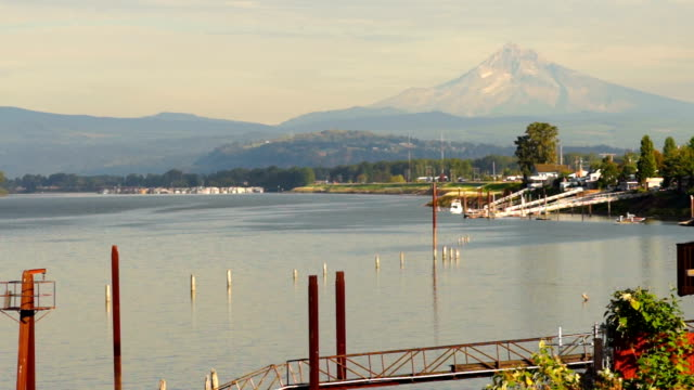 Riverfront Columbia River Mt Hood Portland Oregon USA